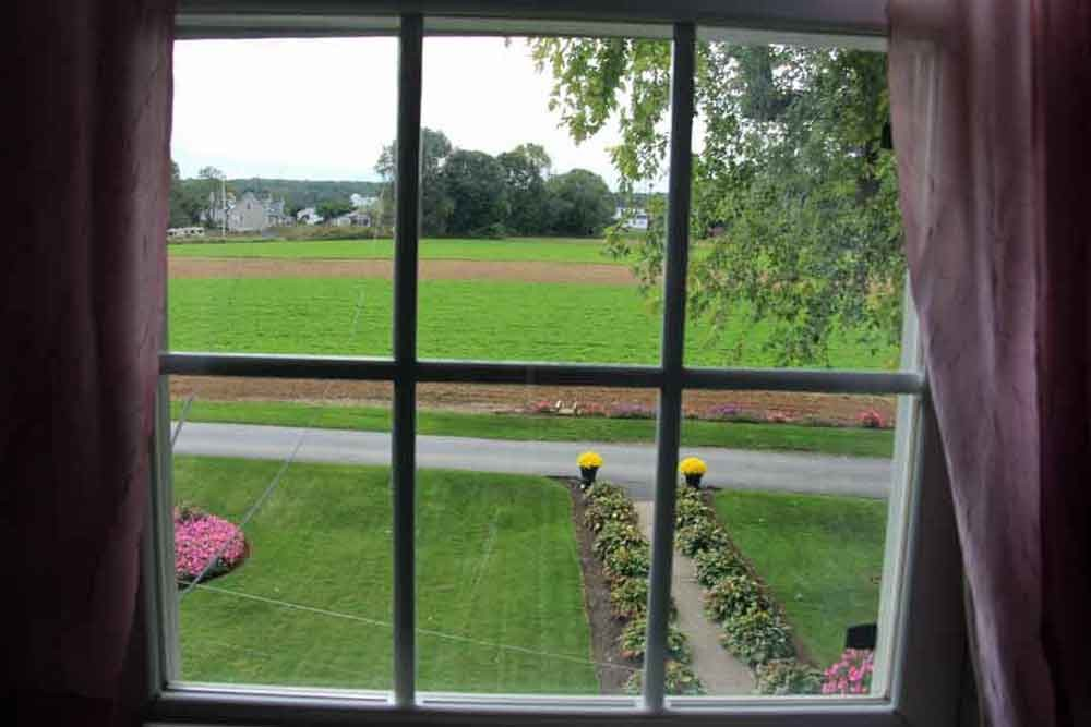 View from bedroom at Iron Stone Acres Farm Bed and Breakfast Lancaster PA